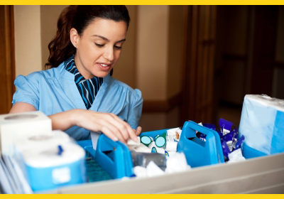Woman selecting cleaning products